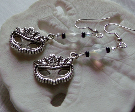 Silver mask earrings - theater- mardi gras - feather mask charm - half mask - fantasy - costume  - carnival - parade jewelry - Lizporiginals