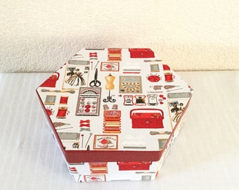 Hexagonal sewing cartonnage, fashion fabric and Red leatherette box.