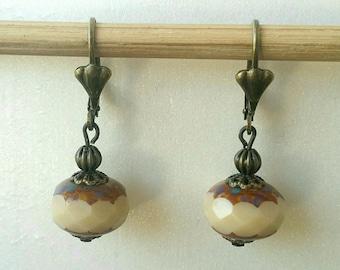 Beige Czech glass bead earrings
