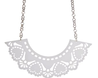 Doily necklace - laser cut acrylic