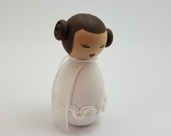 Princess Leia Style Handmade Painted Wooden Figure Peg Doll Star Wars Jedi SciFi  Decoration Gift Personalise Customise Made to Order