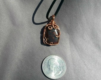 Fire Agate Copper Wire-Wrapped Pendant