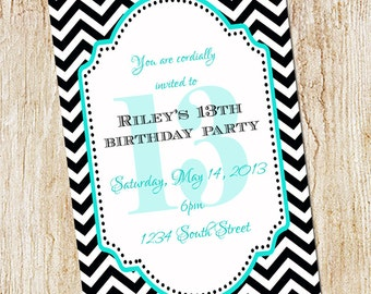 13th birthday party invitation girl birthday invitation 13th birthday party invitation girl birthday invitation digial file print yourself or printed custom chevron invitation filmwisefo