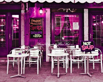 Italy Photography, Italian Kitchen Art, Coffee Shop, Dorm Decor, Pink Wall Art, Hot Pink, Neon, Pink, Venice, Wine Country, Tuscan, Preppy