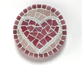 Pink Heart Mosaic Wall Art, mosaic heart in pink, valentine heart art