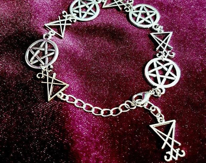Sigil of Lucifer Pentagram Bracelet - luciferian occult jewellery pentacle