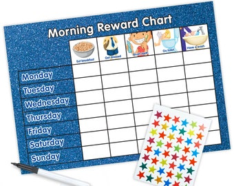 Re-usable Morning Reward Chart (including FREE Stickers and Pen) - Blue Glitter Design