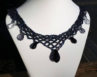 Blue Netted Beaded Necklace