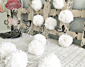 White Pom Pom Yarn Garland Birthday Pom Pom Garland  Baby Bridal Shower Garland Birthday Wedding White Pom Pom Decoration 6 Ft.
