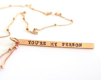 Rose Gold Necklace, You're My Person Necklace, Gift For Sister, Best Friend, Girlfriend, Gift For Best Friend, Other Half, Grey's Anatomy