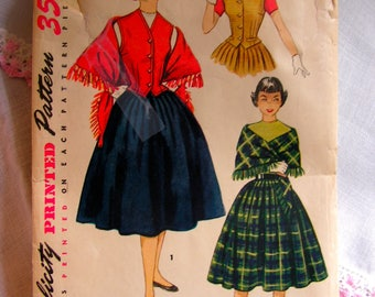 Weskit Skirt and Stole | Teen Size 12 bust 30 | SIMPLICITY 4392 | cut used complete vintage sewing pattern