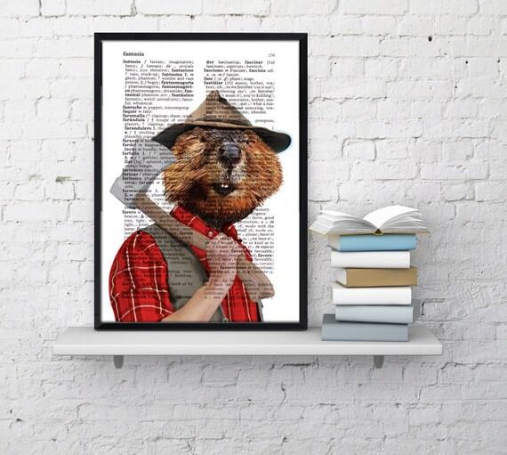 Wall art print lumberjack beaver Art Print Giclee Castor art Beaver Art Print Gift Print Wall Hanging poster art ANI173