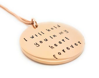 """Rose Gold Memorial Loss pendant, """"I will hold you in my heart forever"""" Remembrance Jewellery Gift Box Memorial Gifts"""