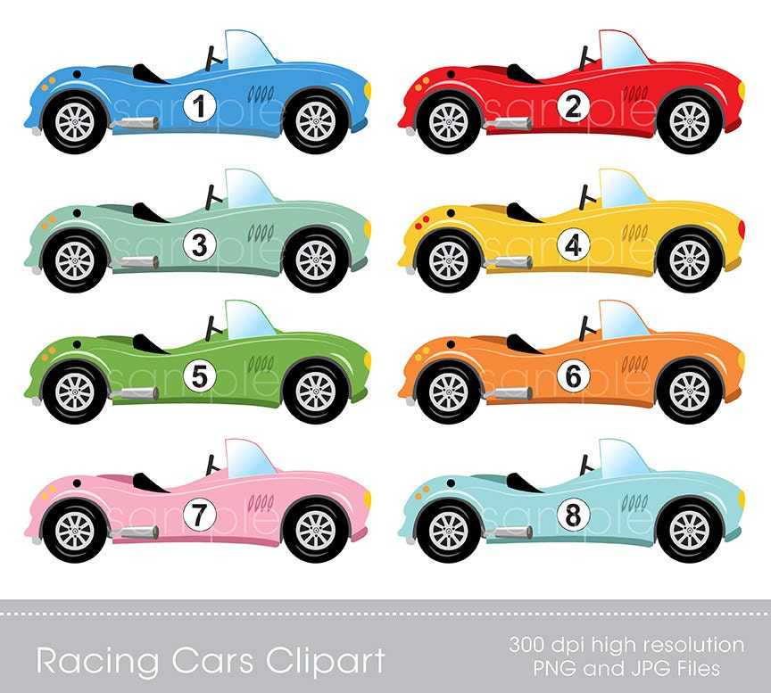 digital clipart race cars clip art for scrapbooking rh etsy com Animated Race Car Clip Art Animated Race Car Clip Art