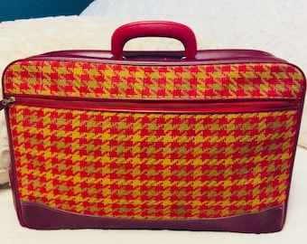 Mod Houndstooth Plaid 1960s Small Suitcase or Train Case Red Gold made in Japan Luggage Carry On Storage Case