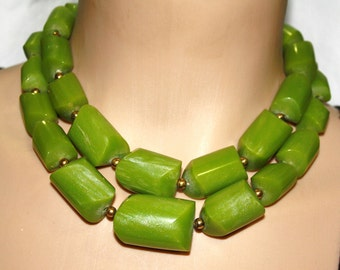 Chunky bamboo green gold  tone statement necklace New Exclusive