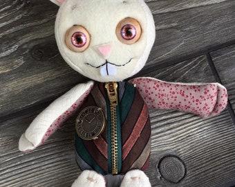 "10"" white rabbit Baby doll moving eyes zipper tummy bunny sack baby by Karen Knapp of Tindle Bears"