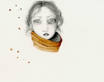 Evocative Portrait of a Girl Fine Art Original Print of My Coffee Staining Drawing Illustration Drawing of a Girl Gift for Her Girl Painting