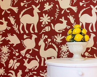 Large Allover Otomi Folk Art Wall Stencil for Wallpaper Look