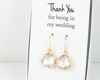 Crystal Gold Earrings, Crystal Earrings, Bridesmaid Earrings, Crystal Wedding Jewelry, Wedding Accessories, Gold Earrings, April Birthstone