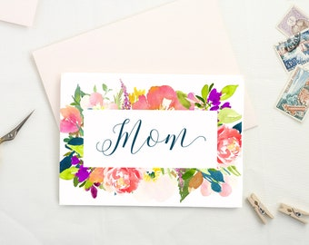 Cute Mothers Day Card. Floral Mothers Day Card. Mom Card. Mothers Day Gift. Happy Mothers Day. Card for Mom.