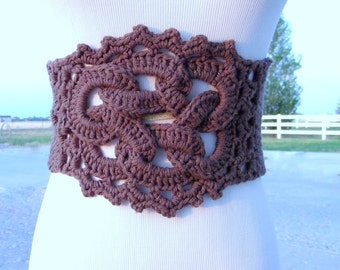 CROCHET PATTERN PDF  Crocheted Celtic Knot Belt pattern - women's fashion - teen crochet accessories, boho crochet, instant download