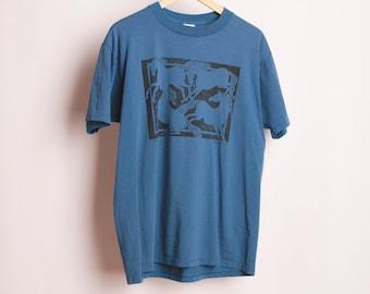 Vintage chevaux danse sauvage des années 90 noir sur les grands western BLUE taille terres soft vintage badlands t-shirt