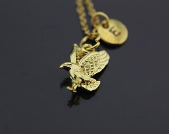 Gold eagle necklace Etsy