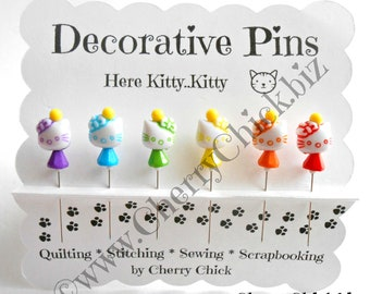 Cat Sewing Pins - Decorative Sewing Pins - Kitty Pin - Pretty Pins - Quilting Pins - Scrapbooking Pins - Gift for Quilters - Push Pins