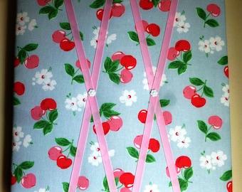 """Fabric Notice Board, Cath Kidston  """"Cherry"""" fabric,  Notice Board, French Memo Board, Bulletin Board, Message Board"""