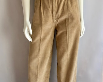 Vintage Women's 80's Tan, Corduroy, Pleated Pants, High Waisted by Nordstrom (M)