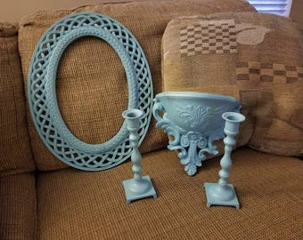 Blue Cottage Chic Home Decor Set Frame Candle Holders Wall Pocket