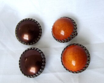 Vintage Dome Earrings, Lot of Two Pairs, Art Deco, Orange, Brown, Clip backs, Retro, 1930s, 1940s