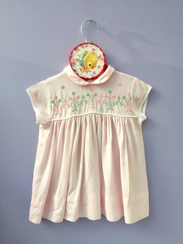 Vintage Little Girl Dress Size 18 month girl Vintage Pink