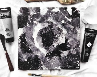 Original Black and White Abstract Acrylic Painting