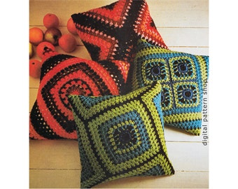 Crochet Pillow Pattern Granny Square Hippie Pillow Covers 18 x 18 Vintage Throw Cushion Reversible Cases Instant Download PDF C132