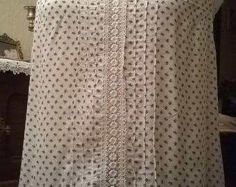 Cotton and white printed lace blouse