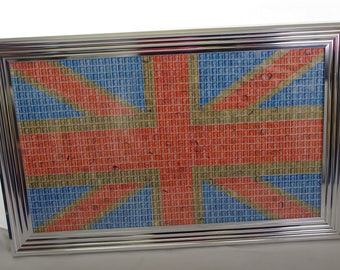 union jack flag wall art made out of 2000 used 1st and 2nd class stamps