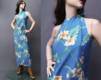 Vintage 70s Hilo Hatties Dress • Hawaiian dress • Sarong Dresses • wrap dress • Hawaii vacation• Maxi Dress • 1970s • Beach sarong wrap