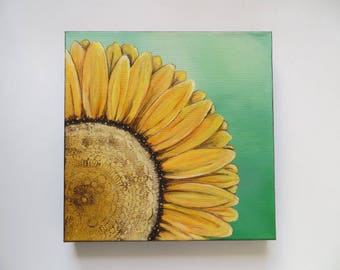 Acrylic painting, sunflower painting, canvas painting, original painting, flower painting, sunshine art, abstract sunflower art, art gift