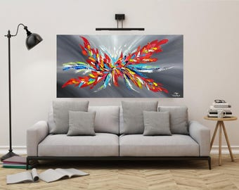 Abstract Painting, Original Grey Art, Acrylic on Canvas, Contemporary Art, Impasto Modern Painting,  Red Wall Art, Palette Knife Art 48x24
