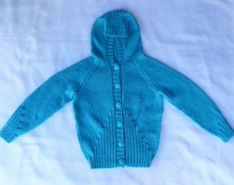 Sweater Jacket Knitted/Hooded Jacket/Girls Hoodie/Turquoise/Childs/Kids Hoodie/Knitted Hoodie/Girl/8 years/9 years/10 years/Buttoned Hoodie