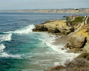 Beach Wall Art,  Beach Wall Art Print, Beach Photography, La Jolla Cove, California coastline, ocean photography,