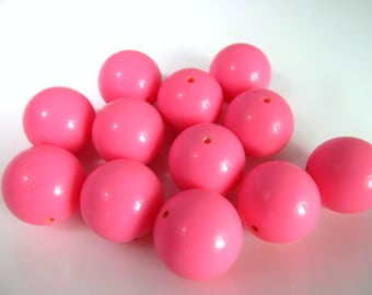 16 Vintage 15.8mm Opaque Pink Lucite Beads Bd2012