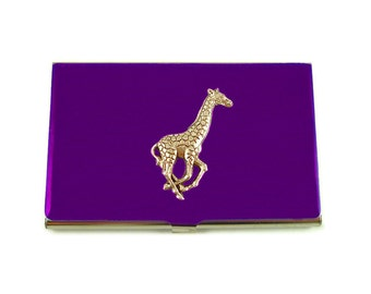 Business Card Case Giraffe Inlaid in Hand Painted Enamel Custom Colors and Personalized Options Available