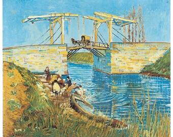 Hand-cut wooden jigsaw puzzle. LANGLOIS BRIDGE. Van Gogh. Impressionist. Impressionism. Wood, collectible. Bella Puzzles.