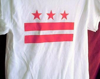 Washington DC FLAG T-Shirt New Screen-Printed All-Cotton D.C. punk hardcore Washingtonian stars bars classic essential wonk