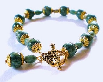 Bracelet - Handpainted Blue and Green Wood Beads, Rice Prase Blue Bracelet