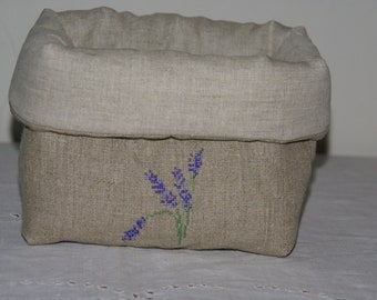 Fabric basket Organizer quilted linen hand embroidered Lavender