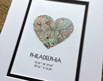Philadelphia City Map Art, Custom Any City Map Art, Map Home Decor, Map Art Gift- Gift for Families or Friends, Gift For Couples Engagement